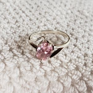 Silver ring with pink ice stone